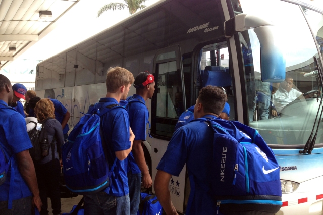 Georgia State boarded the bus from the airport in San Jose for their first stop on the 8-day trip.