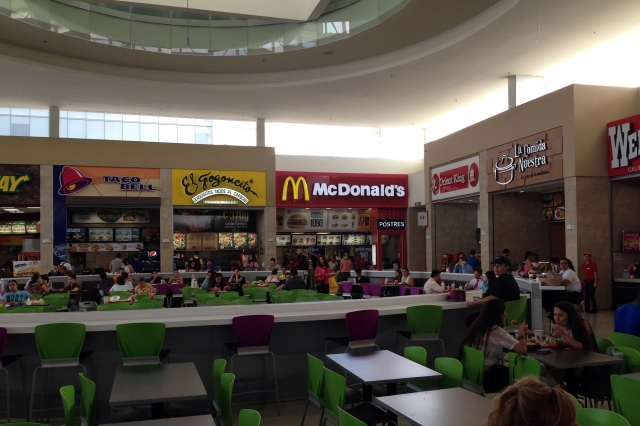 The Panthers made a quick stop for lunch at the local mall. The food court looked very similar to what we would see in Atlanta.